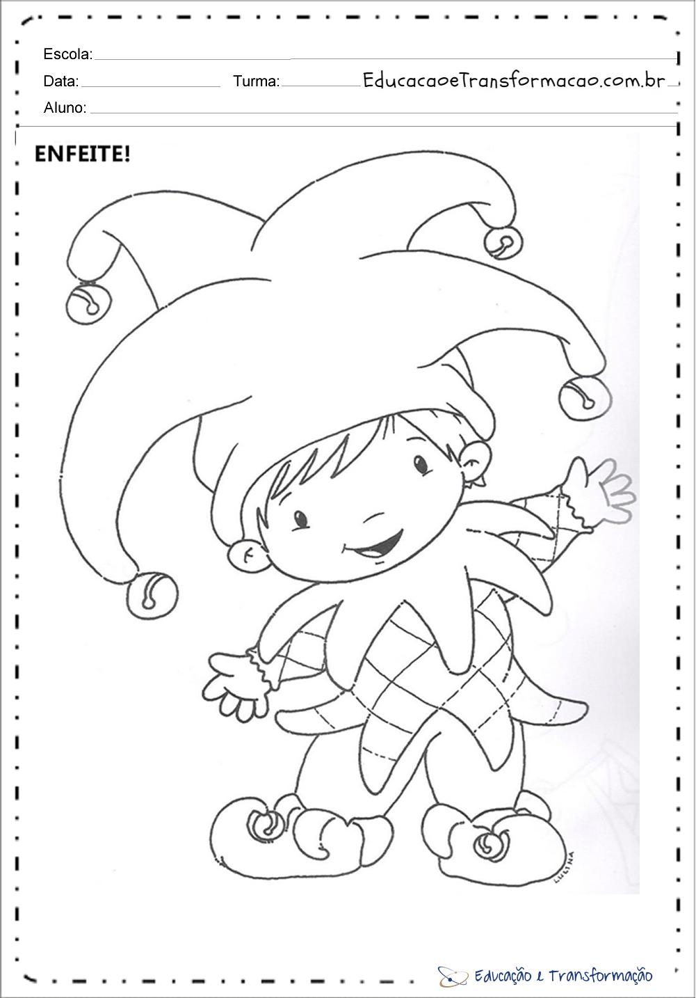 Atividades De Carnaval Educação Infantil Para Imprimir E Colorir