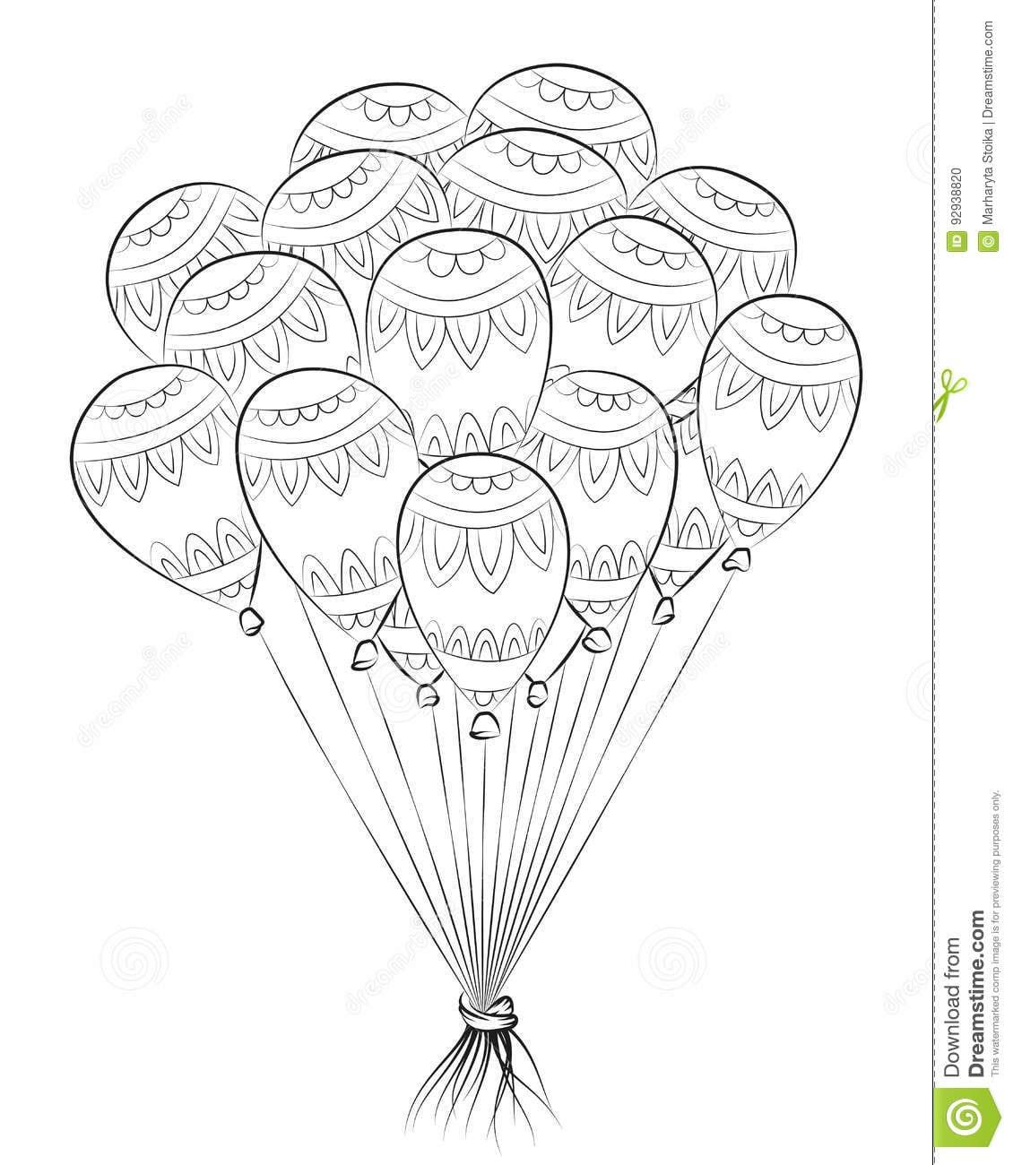 Balão Do Emaranhado Do Zen Zentangle Do Feliz Aniversario Livro