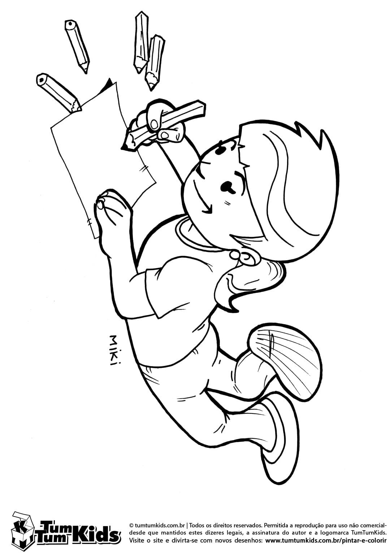Desenhos Para Colorir De Crian As Estudando – Pampekids Net