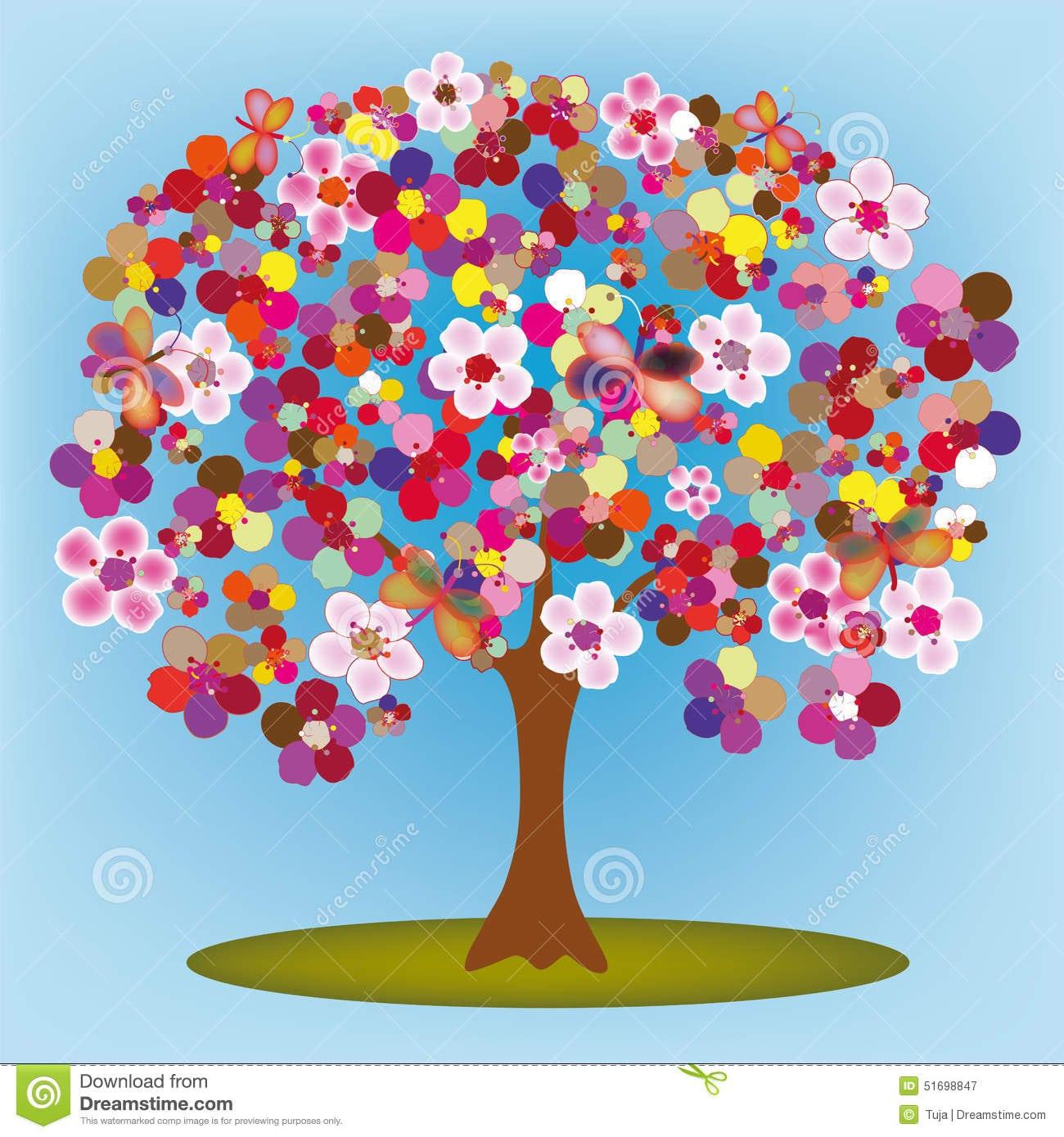 Árvore De Florescência Dos Desenhos Animados Com Flores E