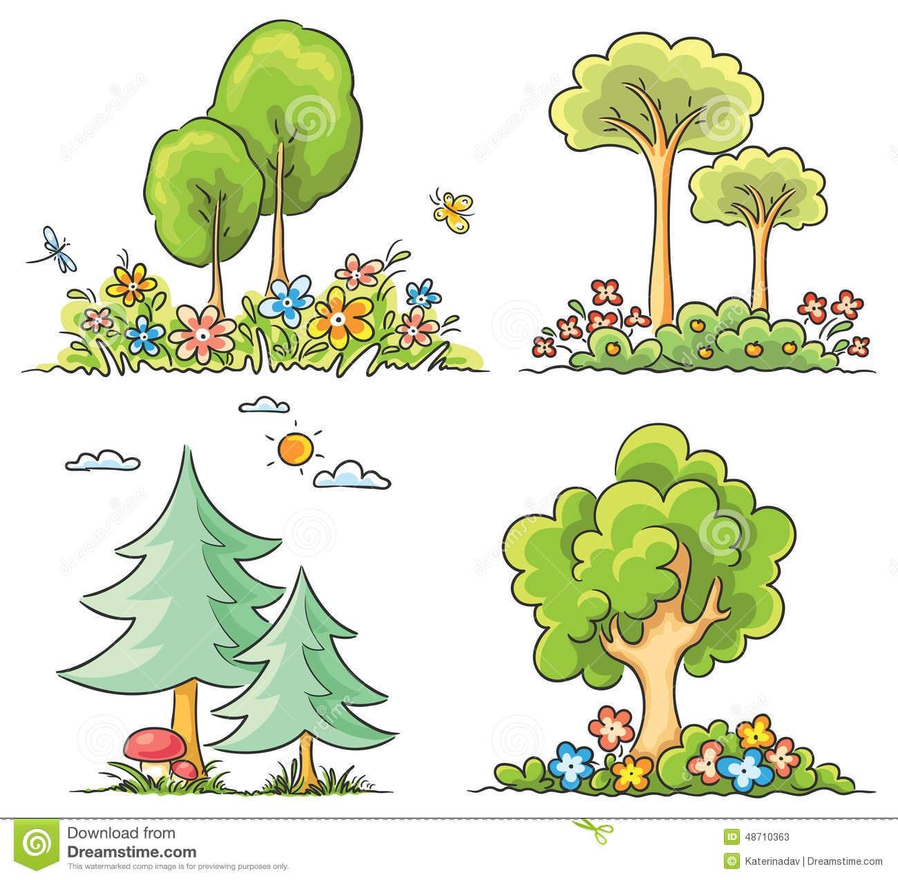 Árvores Dos Desenhos Animados Com Flores Ilustração Do Vetor