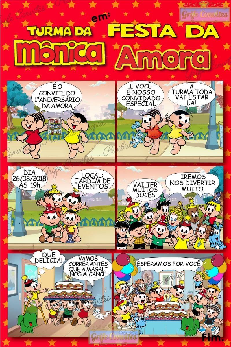 Convite Digital Turma Da Mônica Quadrinhos