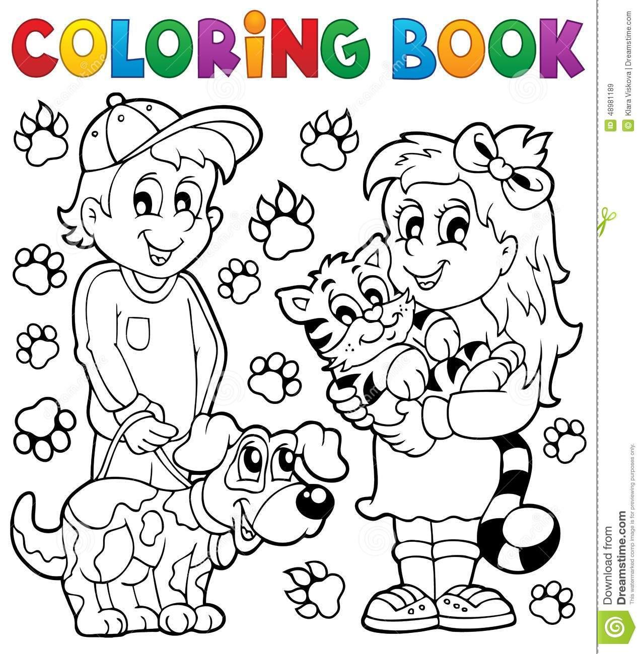 Crianças Do Livro Para Colorir Com Animais De Estimação Ilustração