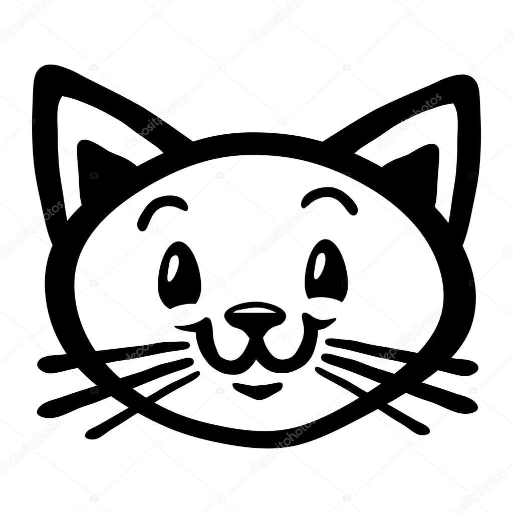 Desenho De Vetor De Cara De Gato — Vetores De Stock © Briangoff