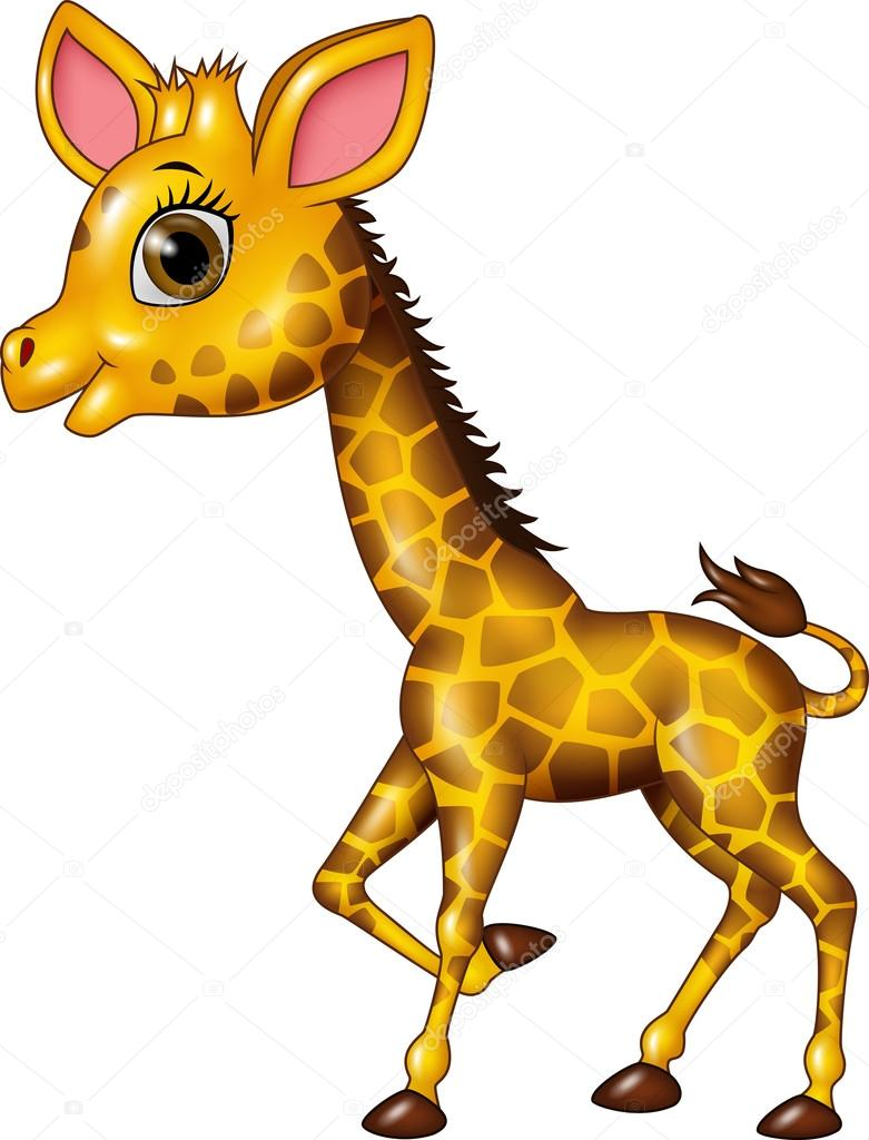 Desenhos Animados Engraçados Filhote De Girafa Isolado No Fundo