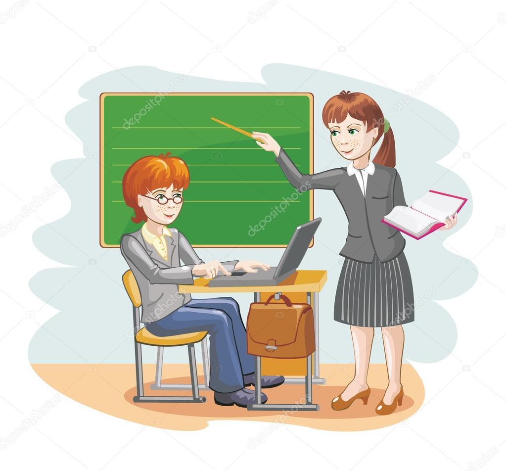 Ilustração De Desenho Vetorial De Um Professor E O Aluno Sobre A