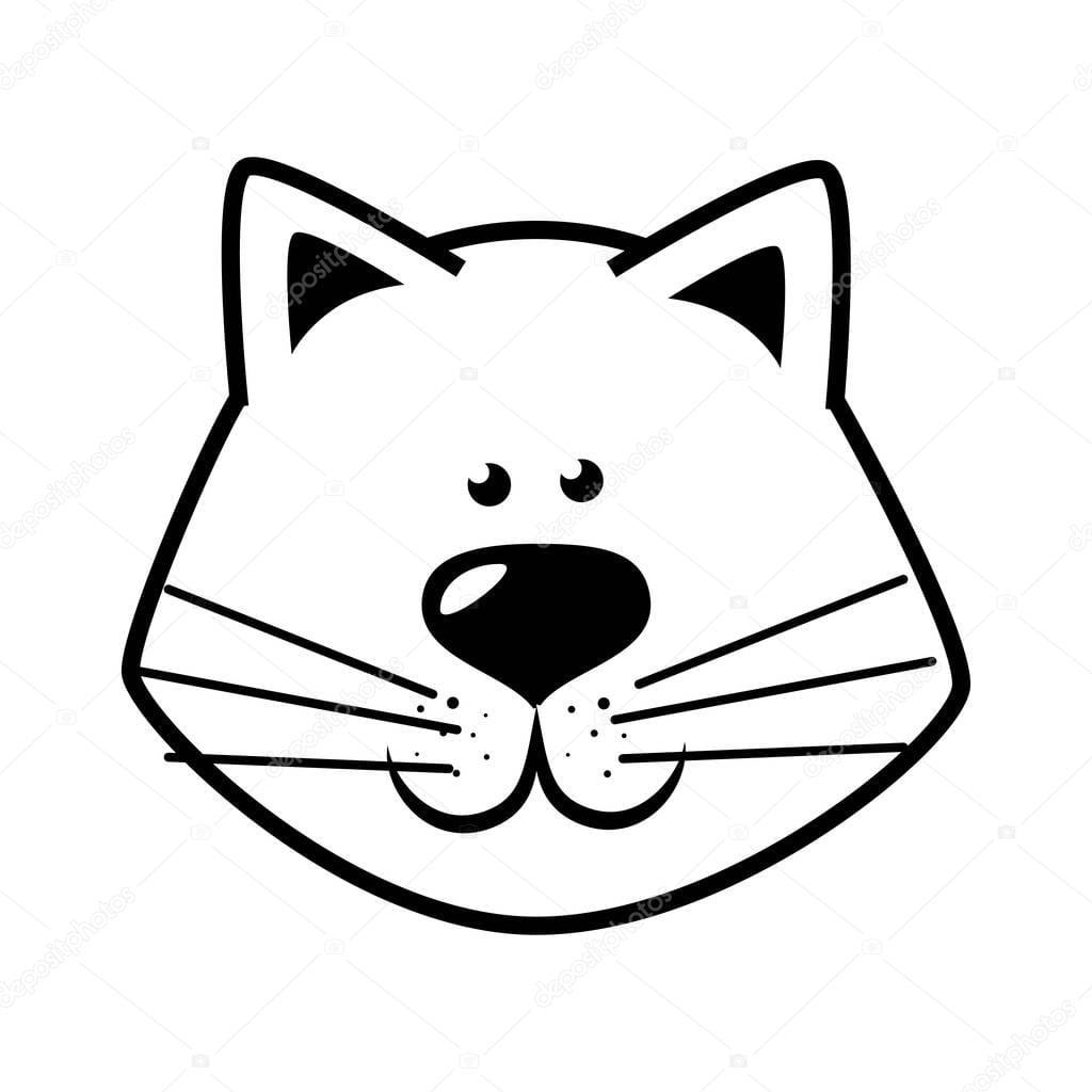 Mão De Desenho Gato Rosto Feliz — Vetores De Stock © Yupiramos