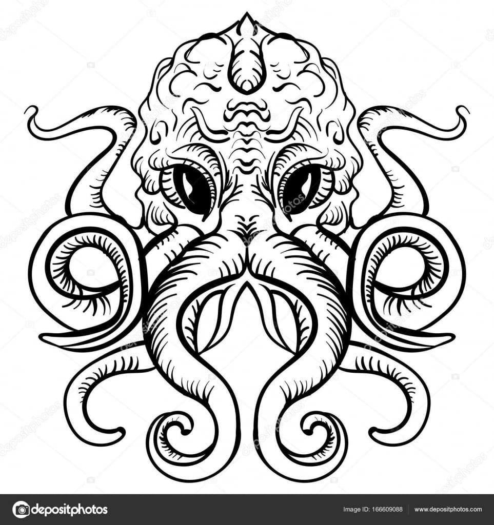 Polvo De Desenho Do Polvo Tinta Ilustração Tatuagem — Vetores De