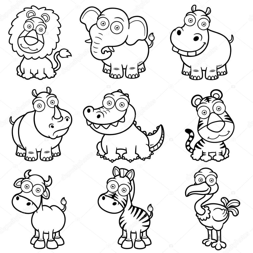 Desenhos De Animais Selvagens — Vetor De Stock © Sararoom  29883773