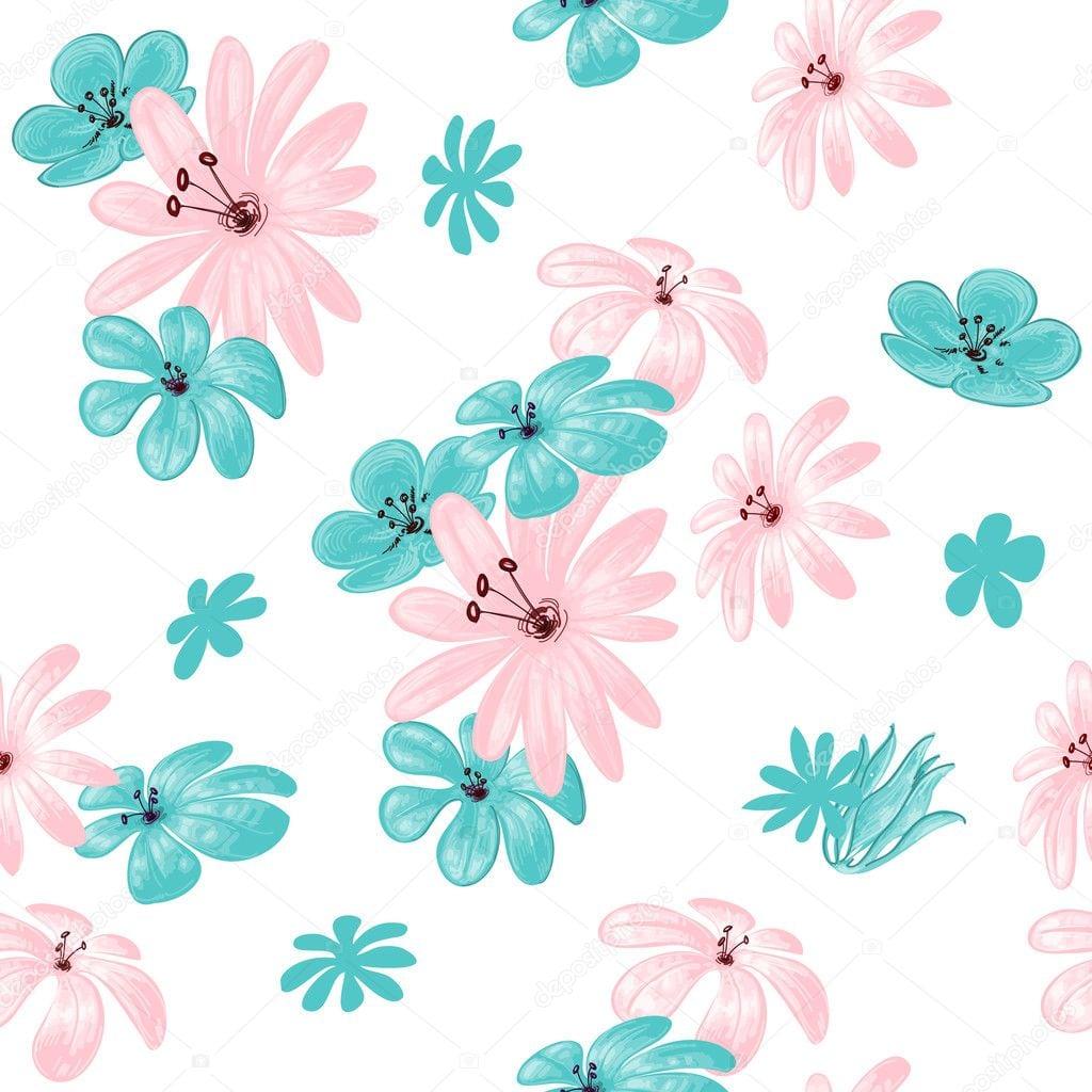 Patrón Sin Costuras De Flores Para Imprimir — Archivo Imágenes