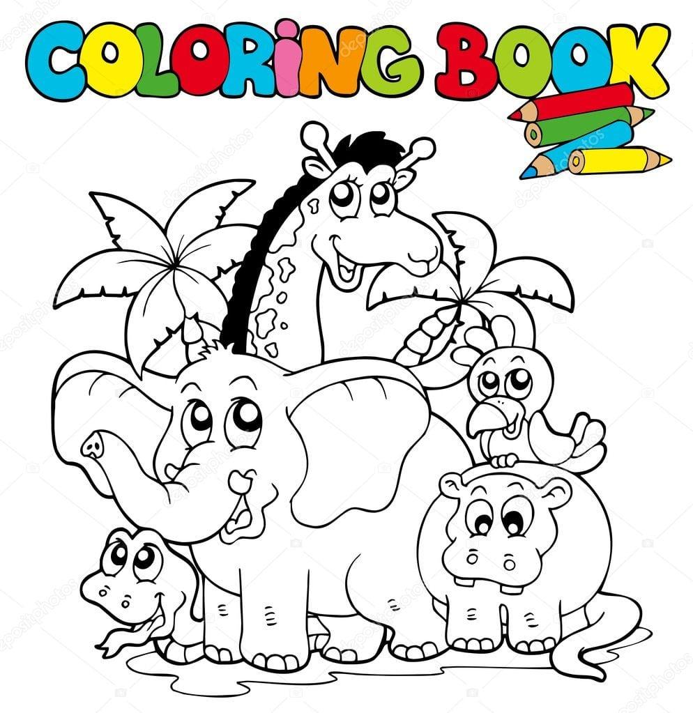 Livro De Colorir Com Animais Fofos 1 — Vetor De Stock © Clairev