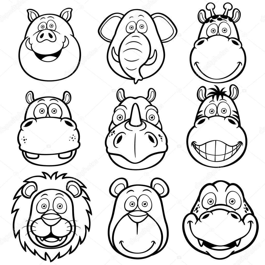 Desenhos De Rostos De Animais Selvagens — Vetores De Stock