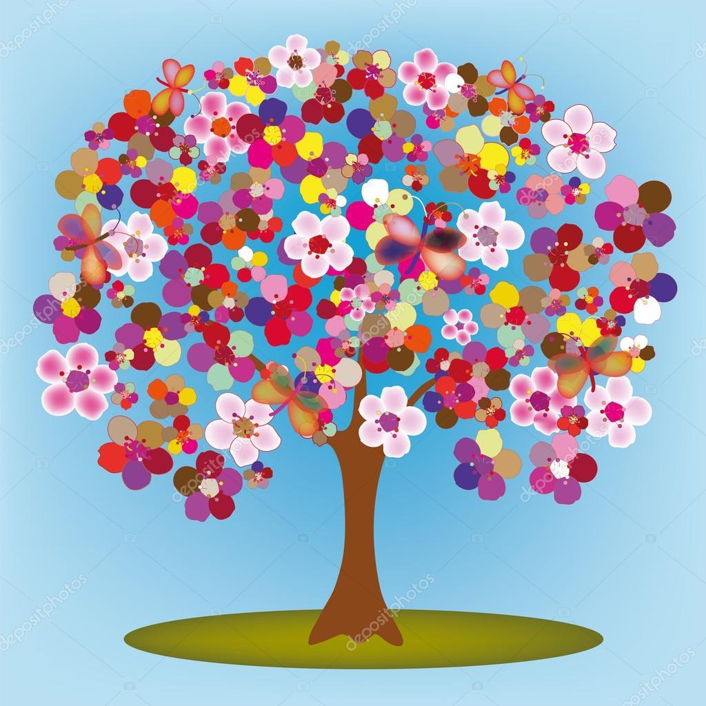 Árvore De Florescimento Dos Desenhos Animados Com Flores Abstratas