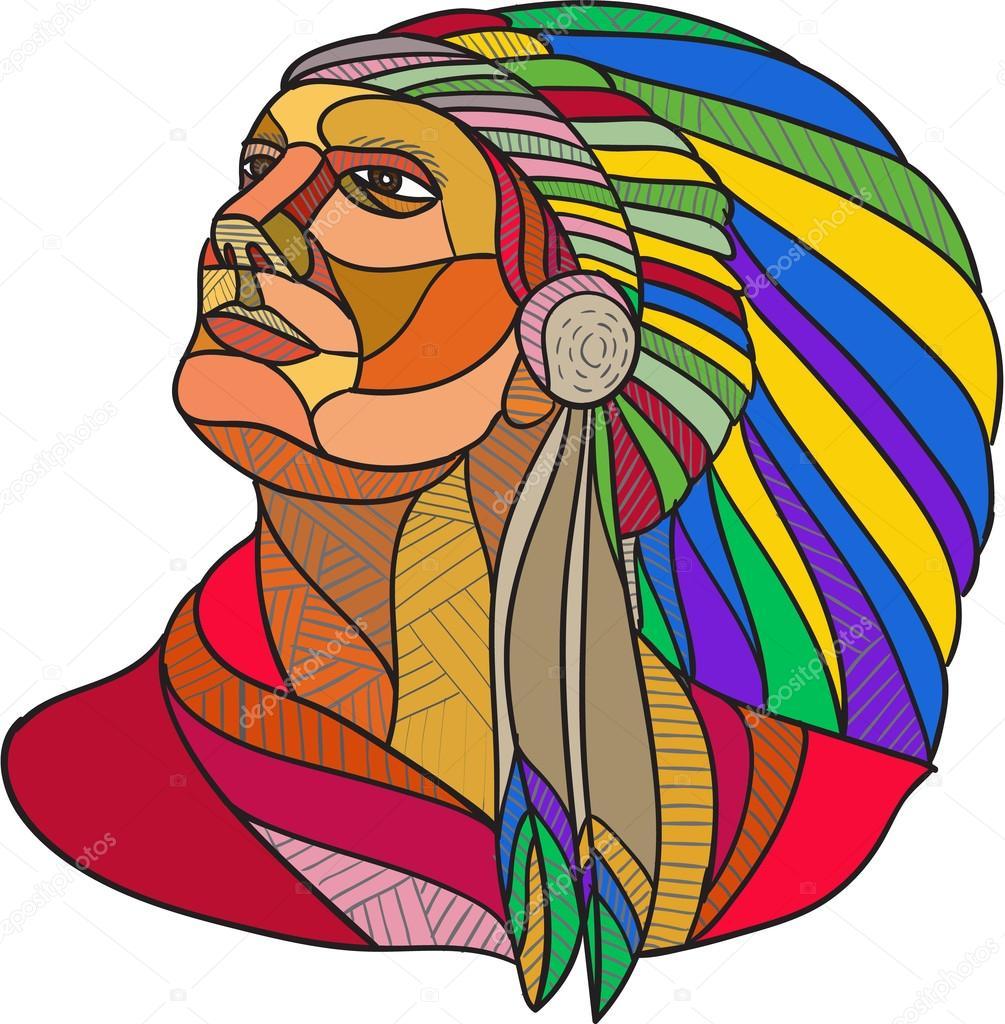 Desenho De Cocar Chefe De índio Nativo Americano — Vetores De