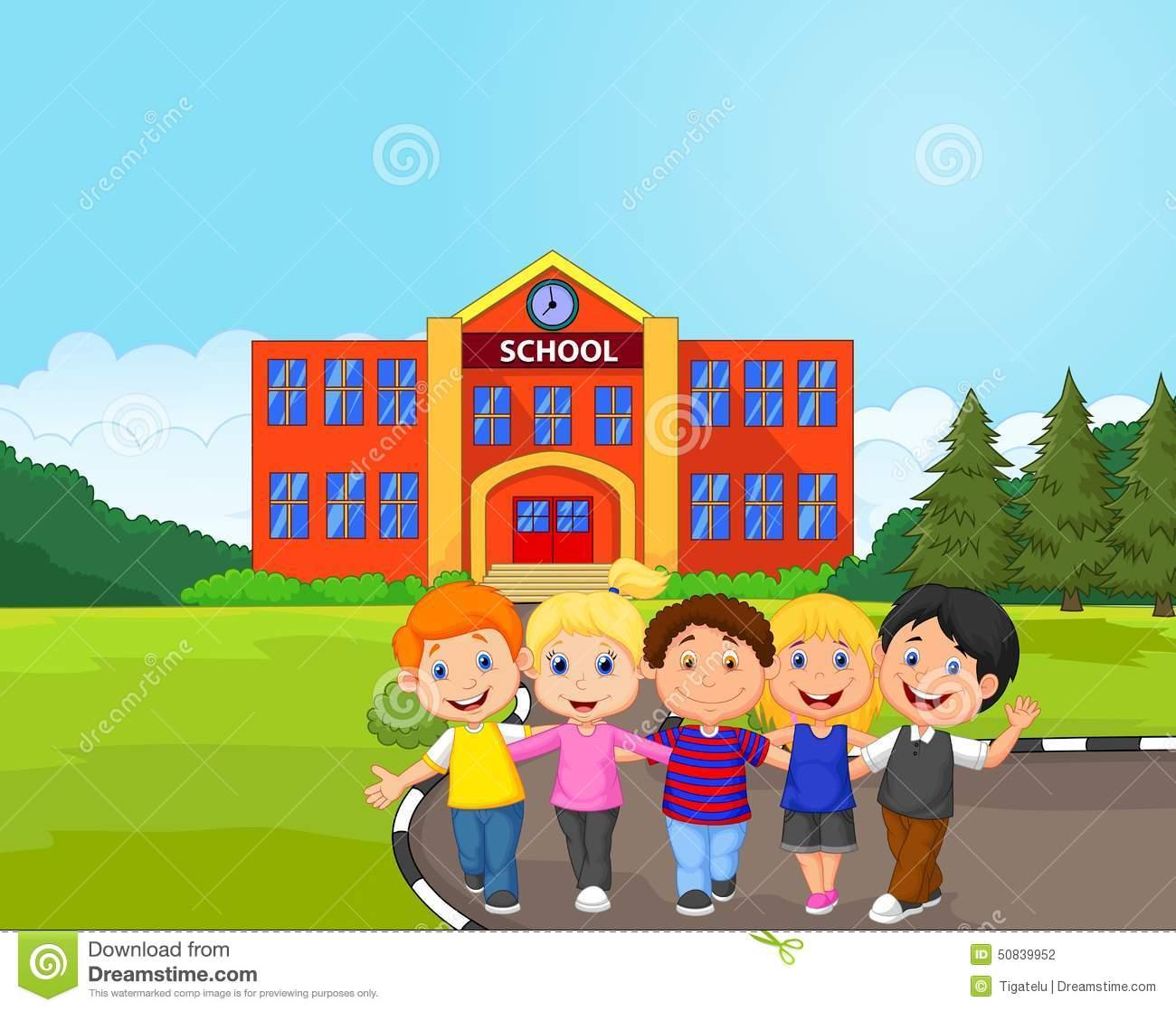 Desenhos Animados Felizes Dos Alunos Na Frente Da Escola