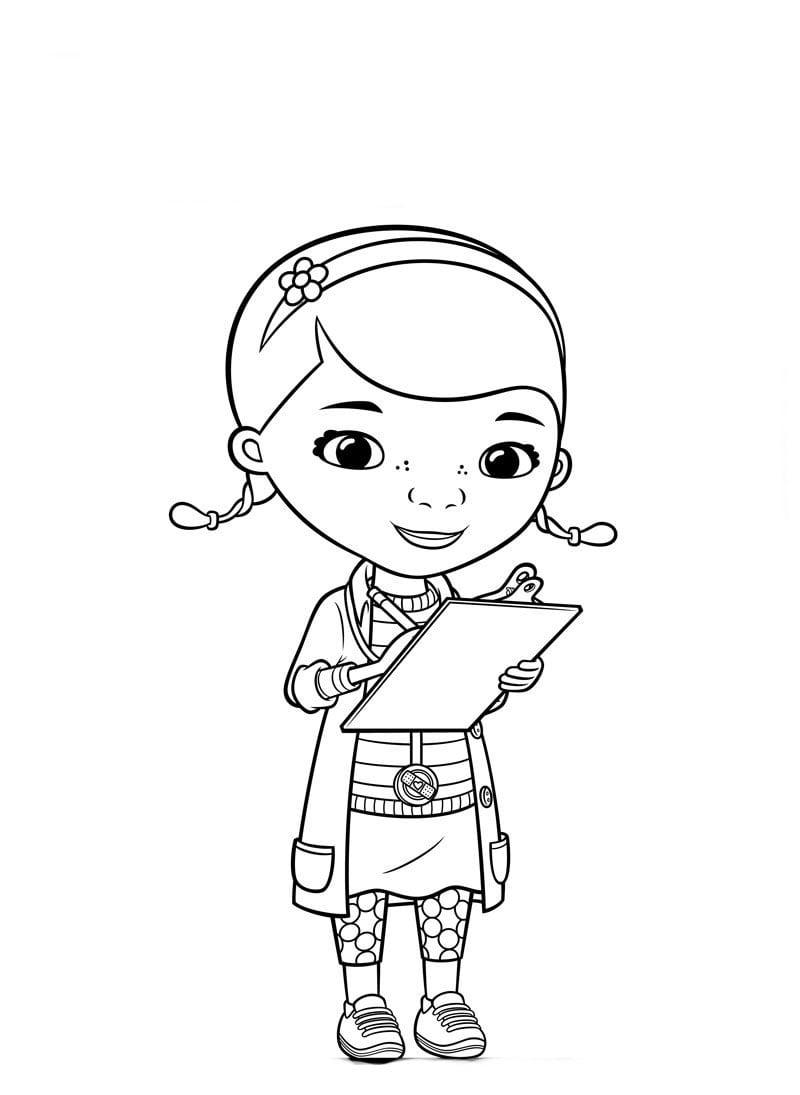 Desenho De Doutora Brinquedos Atendendo Pacientes Para Colorir