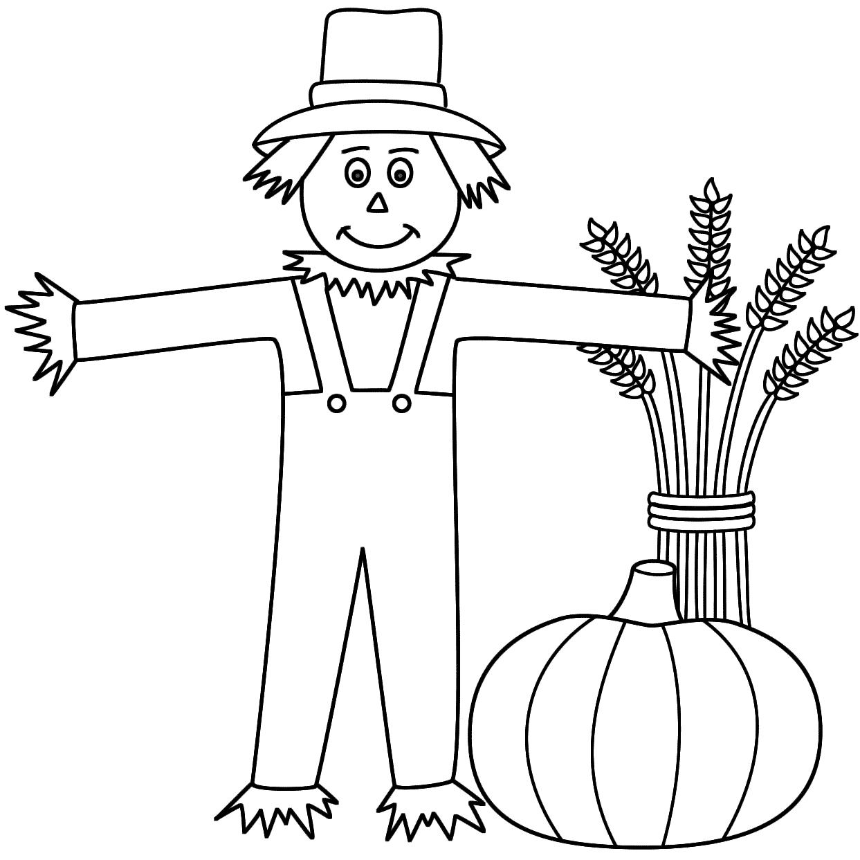 Desenho De Espantalho E Abóbora Para Colorir
