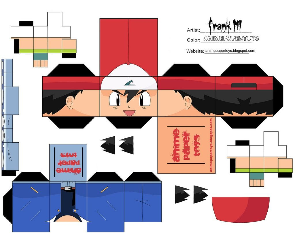 Ash Ketchum Pokemon Cubee Craft