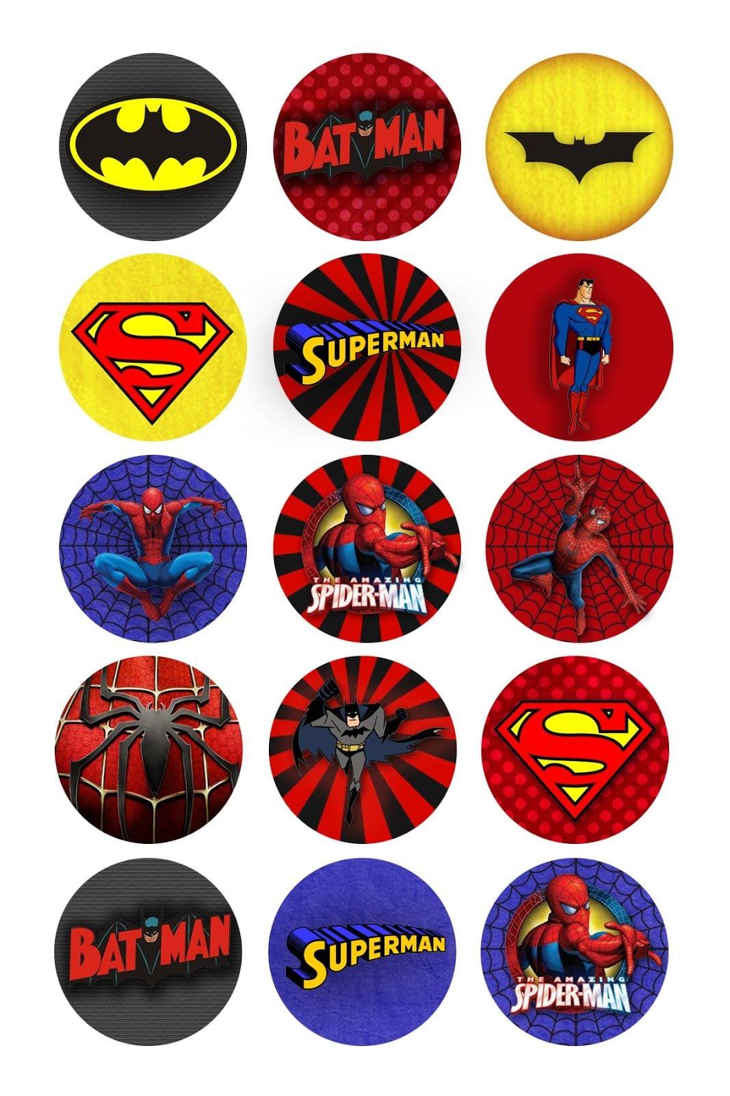 Super Héroes  Etiquetas O Toppers Para Imprimir Gratis