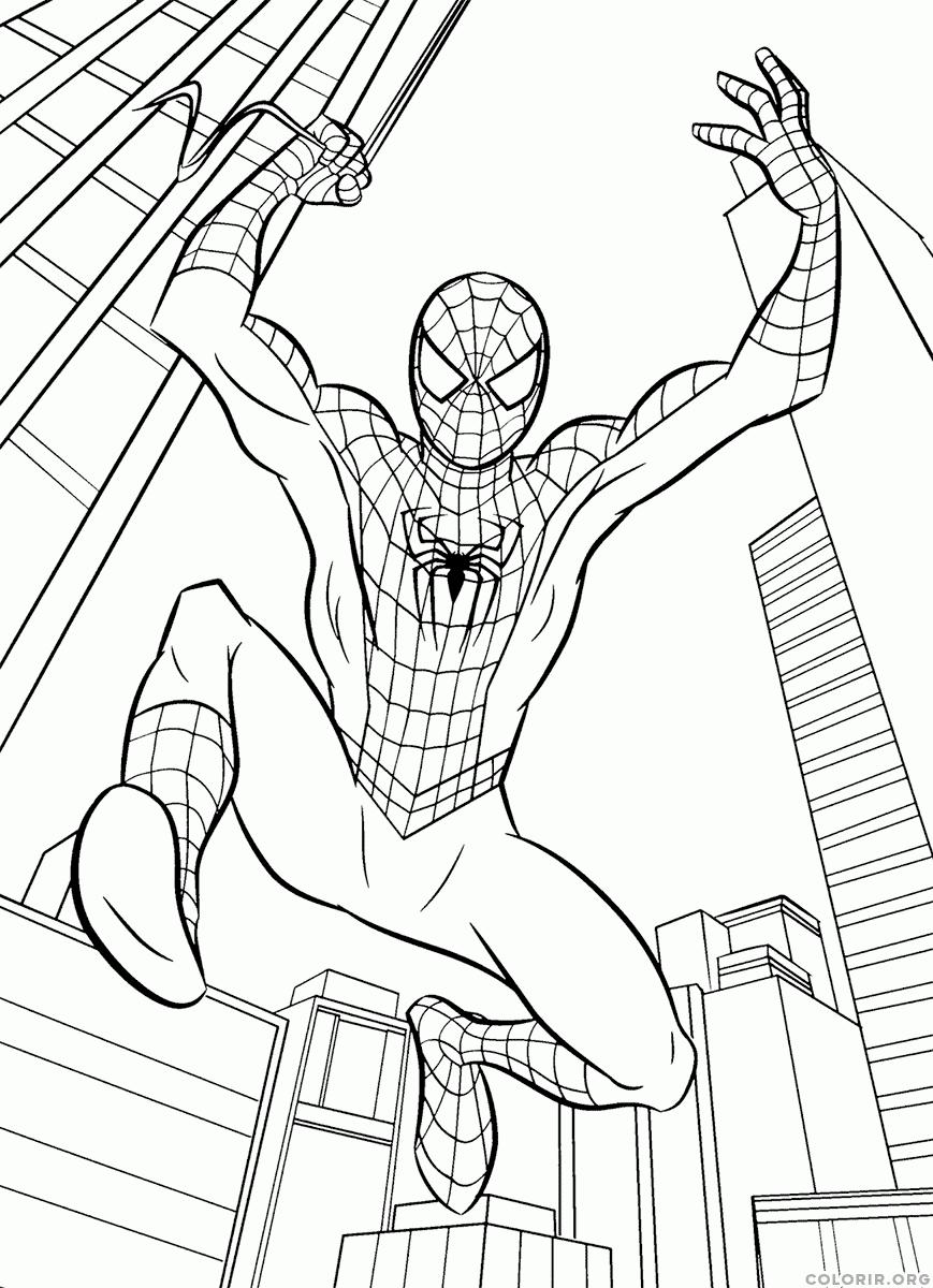 Desenho Do Homem Aranha Combatendo O Crime — Colorir Org