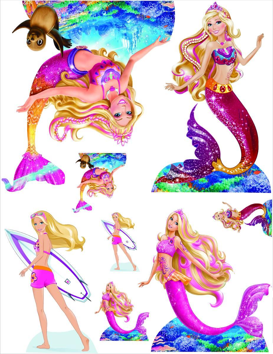 Kit Display Barbie Sereia 2 Pçs 80cm + 4 Mesa Totens  48h