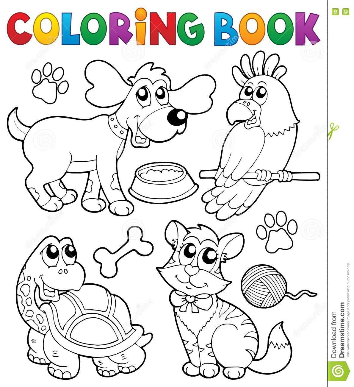 Livro Para Colorir Com Animais De Estimação 3 Ilustração Do Vetor