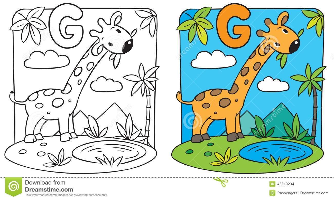 Livro Para Colorir Do Girafa Alfabeto G Ilustração Do Vetor