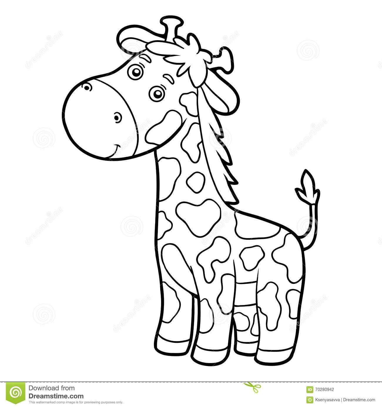 Livro Para Colorir, Página Colorindo (girafa) Ilustração Do Vetor