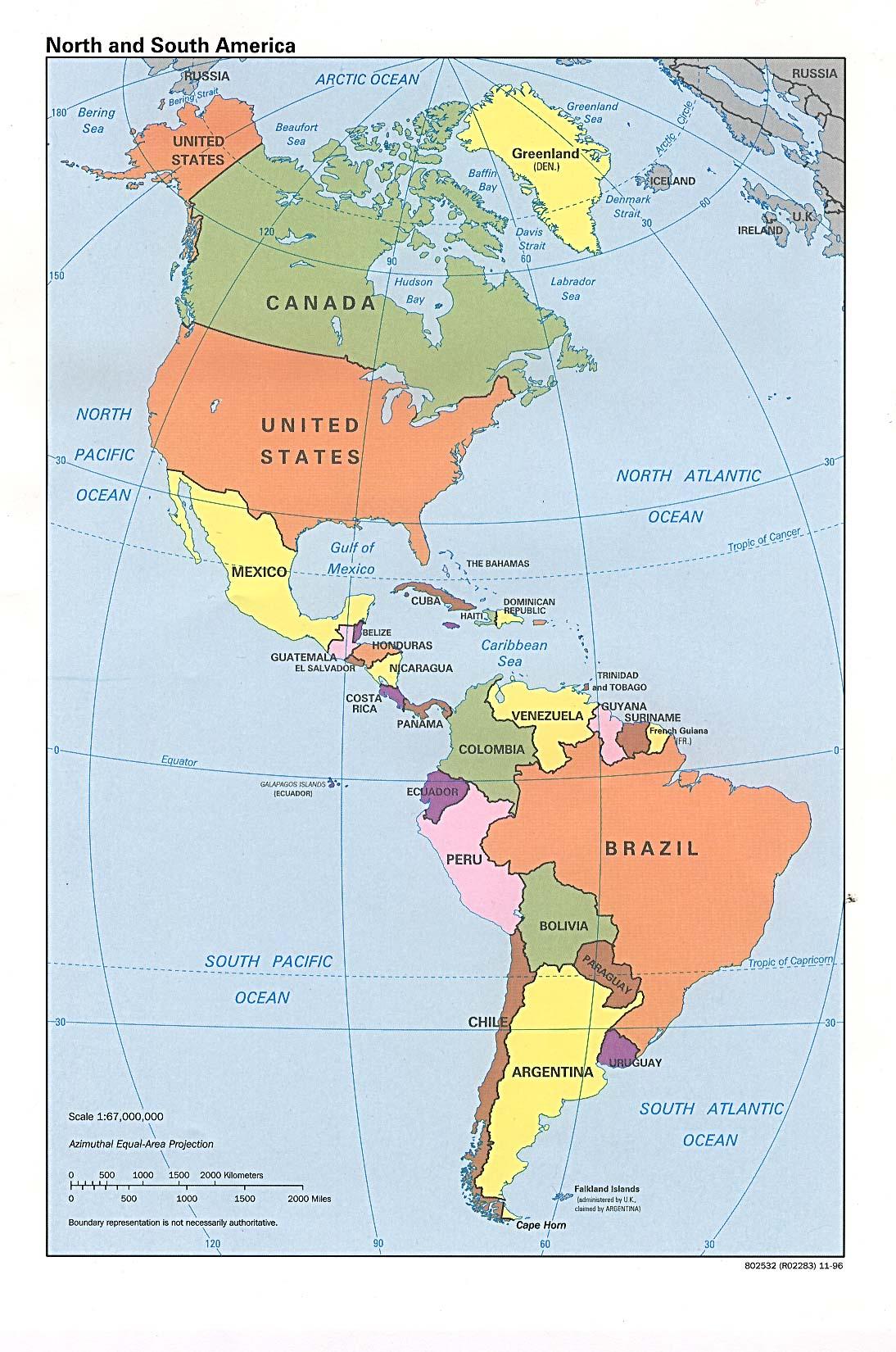 Mapa Del Continente Americano – World Map, Weltkarte, Peta Dunia