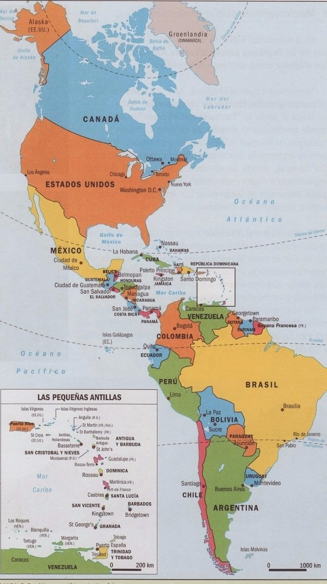 Mapa Mural Continente Americano Politico (1202349)