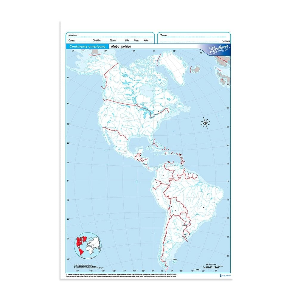 Mapa Rivadavia Continente Americano, Político, Oficio