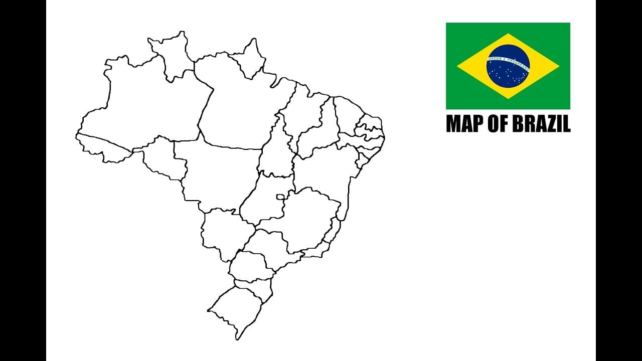 How To Draw Map Of Brazil  Como Desenhar O Mapa Do Brasil