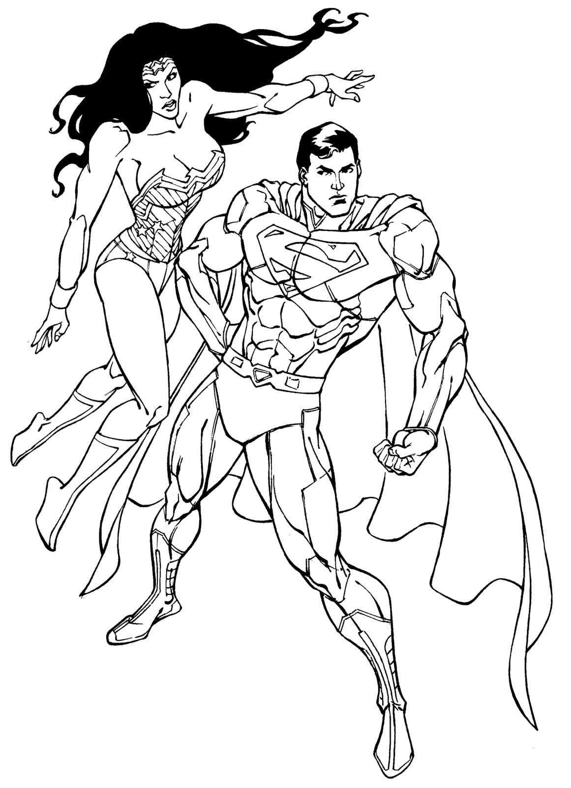 Desenho De Mulher Maravilha E Superman Para Colorir