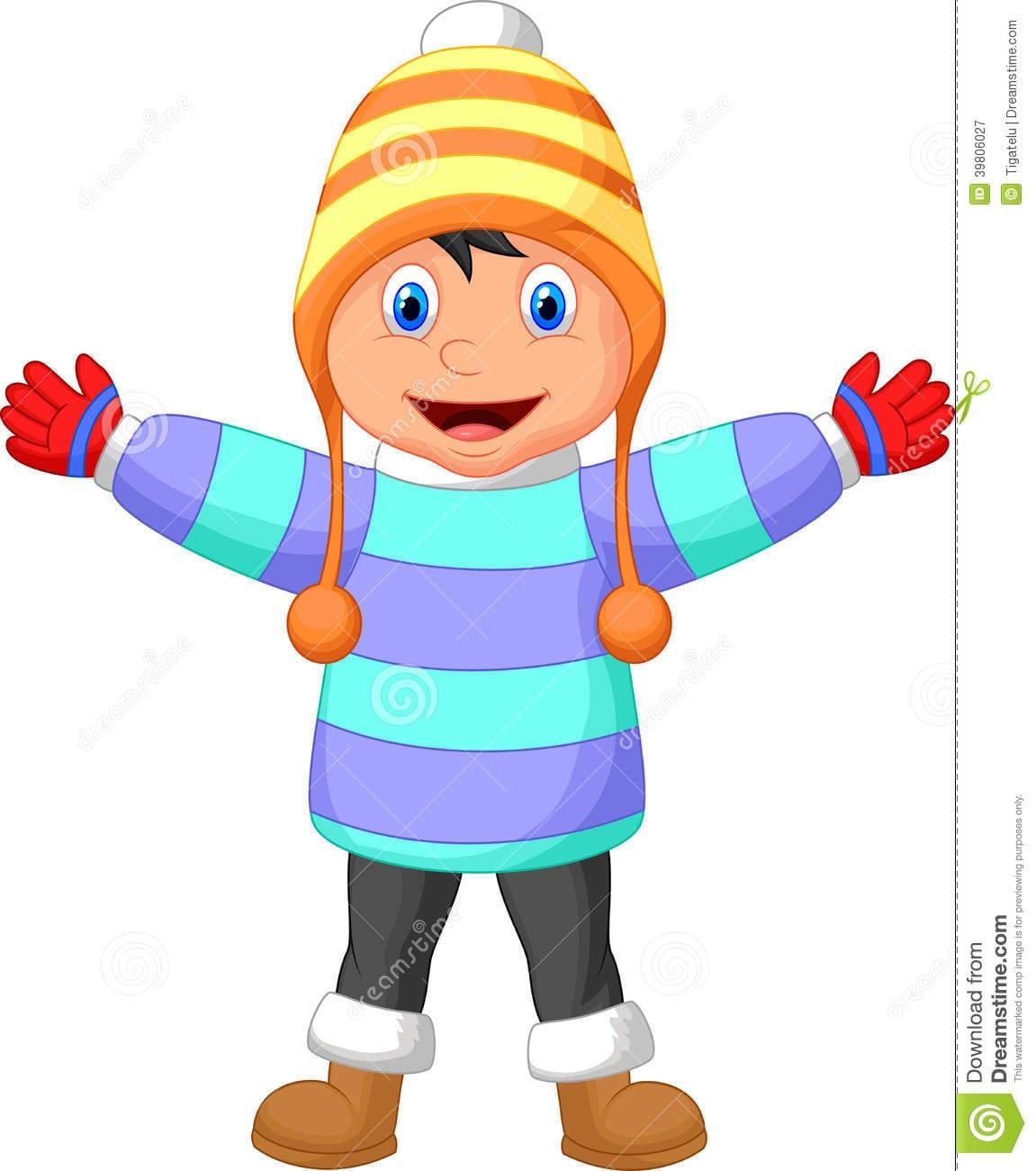 Os Desenhos Animados Um Menino No Inverno Vestem A Mão De