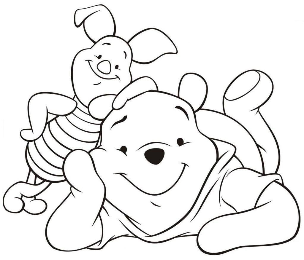 Ursinho Pooh E Leitão Deitados – Desenhos Para Colorir