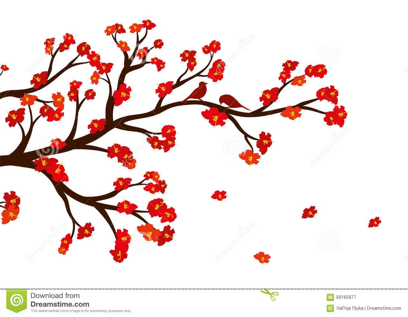 Vector A Ilustração Do Ramo De árvore Da Flor Com Flores Vermelhas