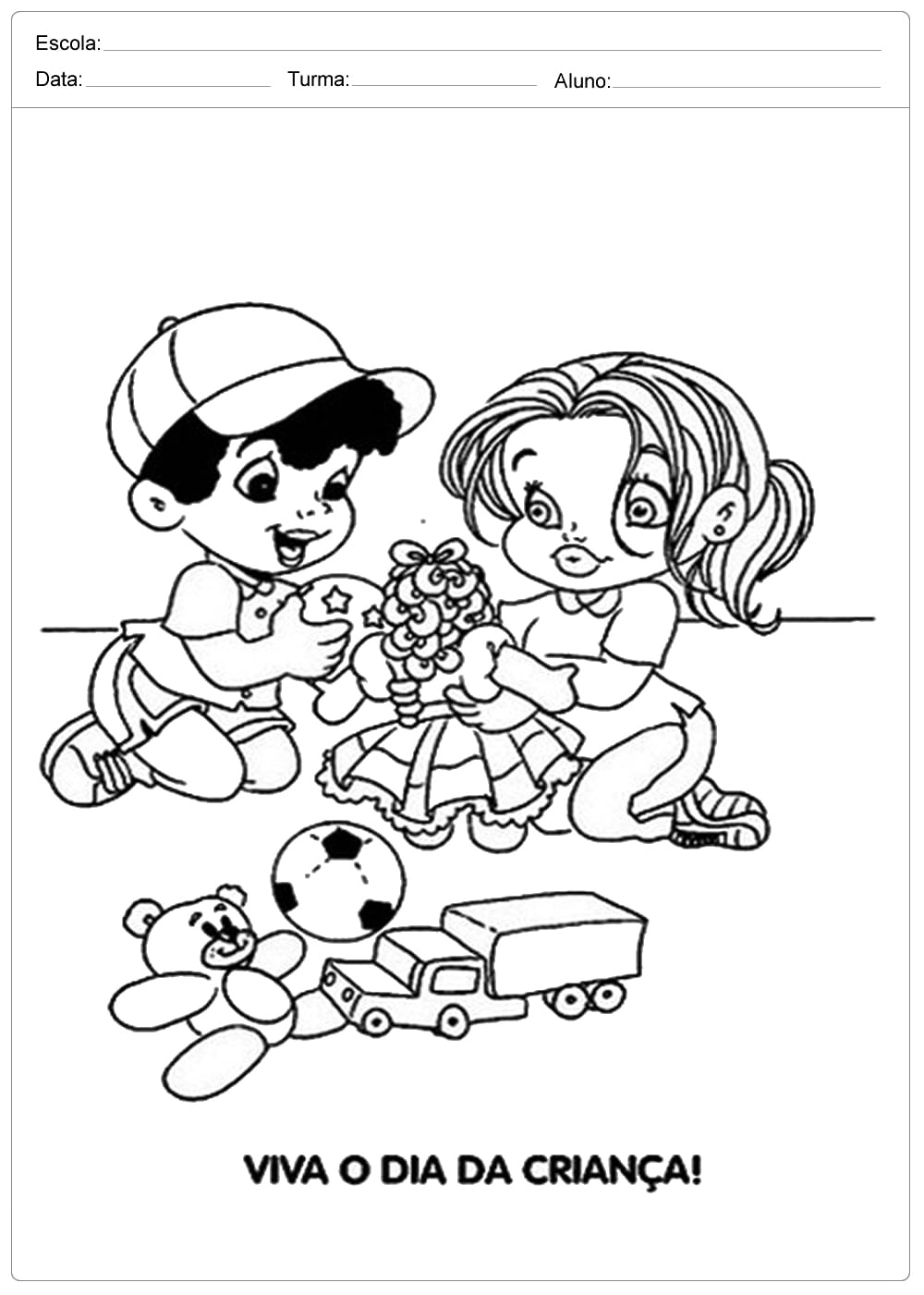 Desenhos Para Colorir  Dia Das Crianças — SÓ Escola