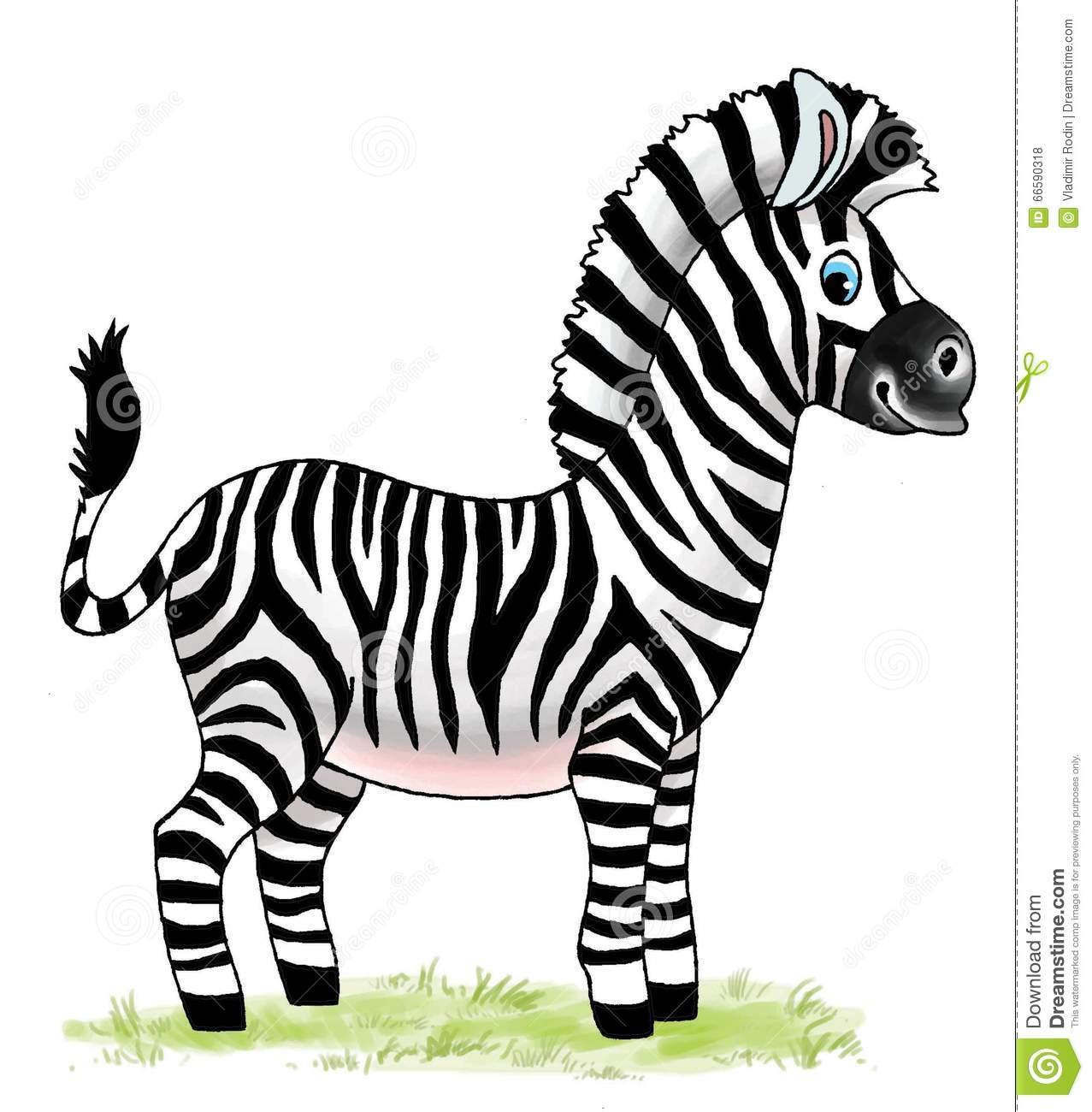 Zebra Horse African Zoo Cartoon Figure Stock Illustration