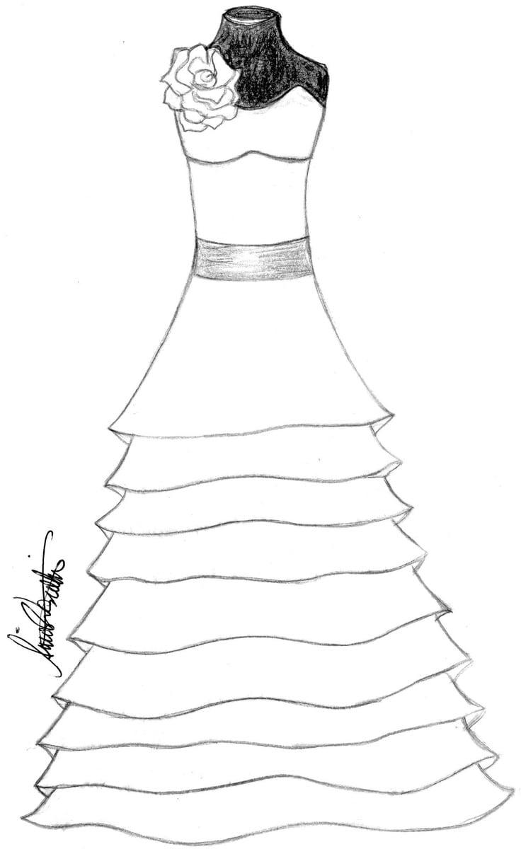 Desenhos De Vestidos De Noiva Para Colorir – Pampekids Net