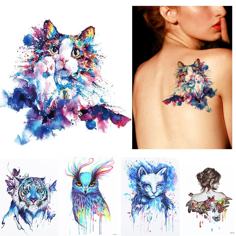 2 Pc Set Diy Arte No Corpo Tatuagem Temporary Colorida Animais