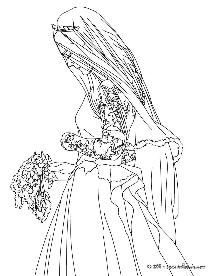 Desenhos Para Colorir De Desenho Da Noiva Kate Middleton Para