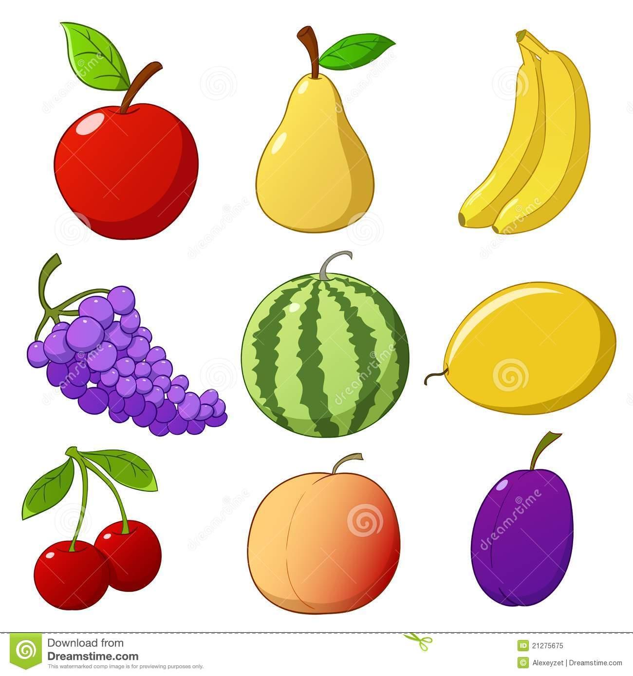 Ajuste Frutas Desenhadas Mão Dos Desenhos Animados Ilustração Do