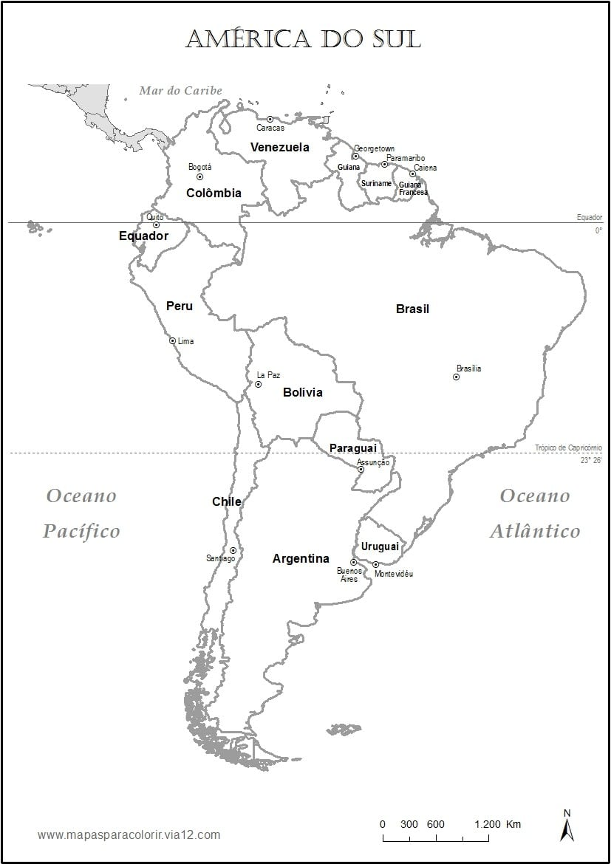 Mapa Da America Do Sul Para Colorir – Pampekids Net