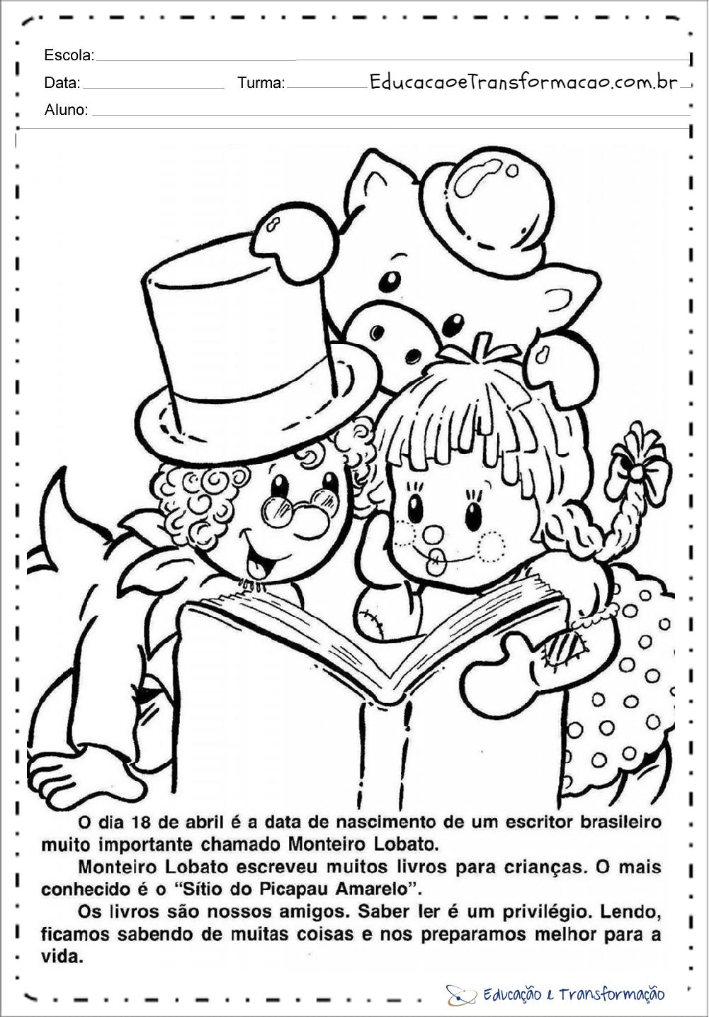 Atividades Dia Do Monteiro Lobato Para Colorir – Educação E