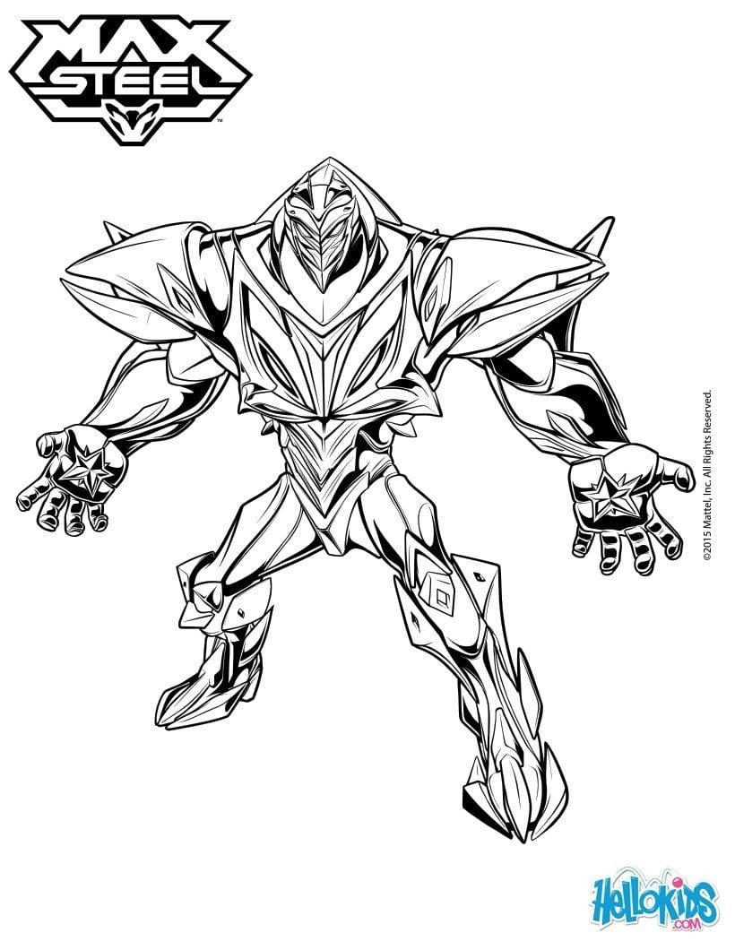 Turbo Energy Enemy Of Max Steel Coloring Sheet  More Max Steel