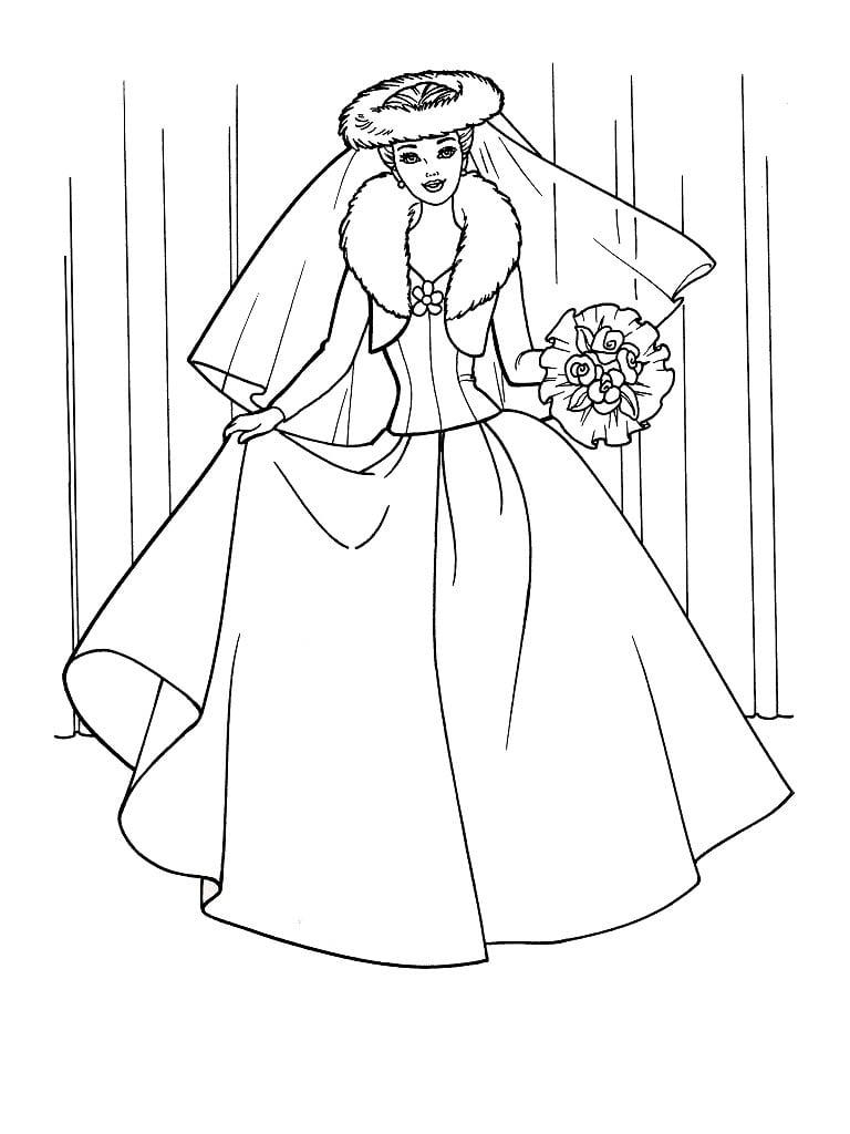 Desenho De Barbie Vestido De Noiva Para Colorir