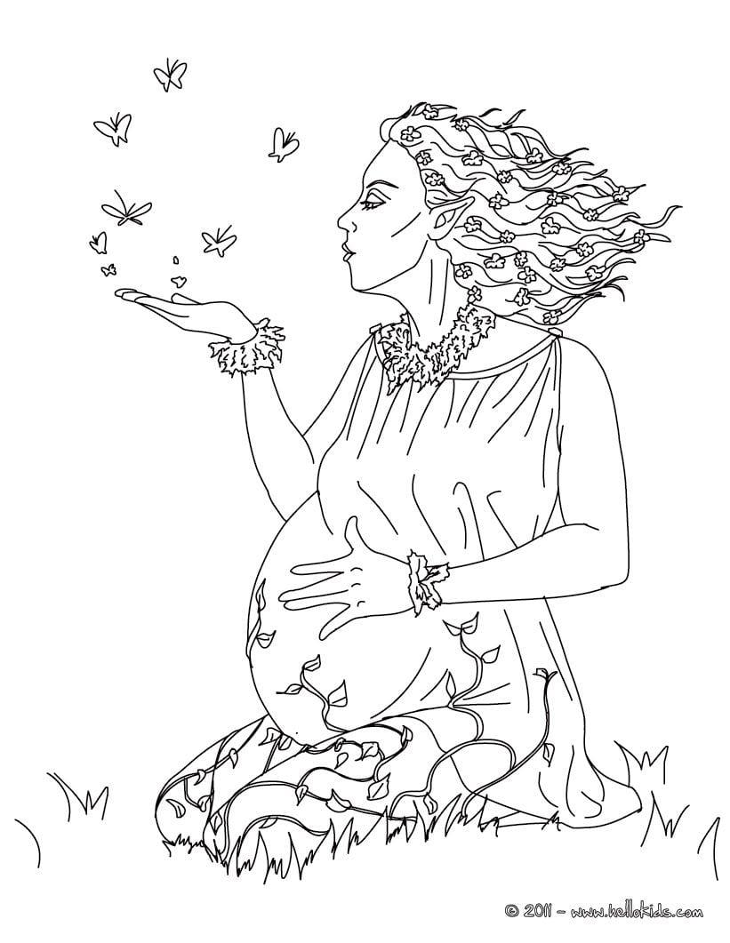 Desenho Da Deusa Grega Gaia Para Colorir
