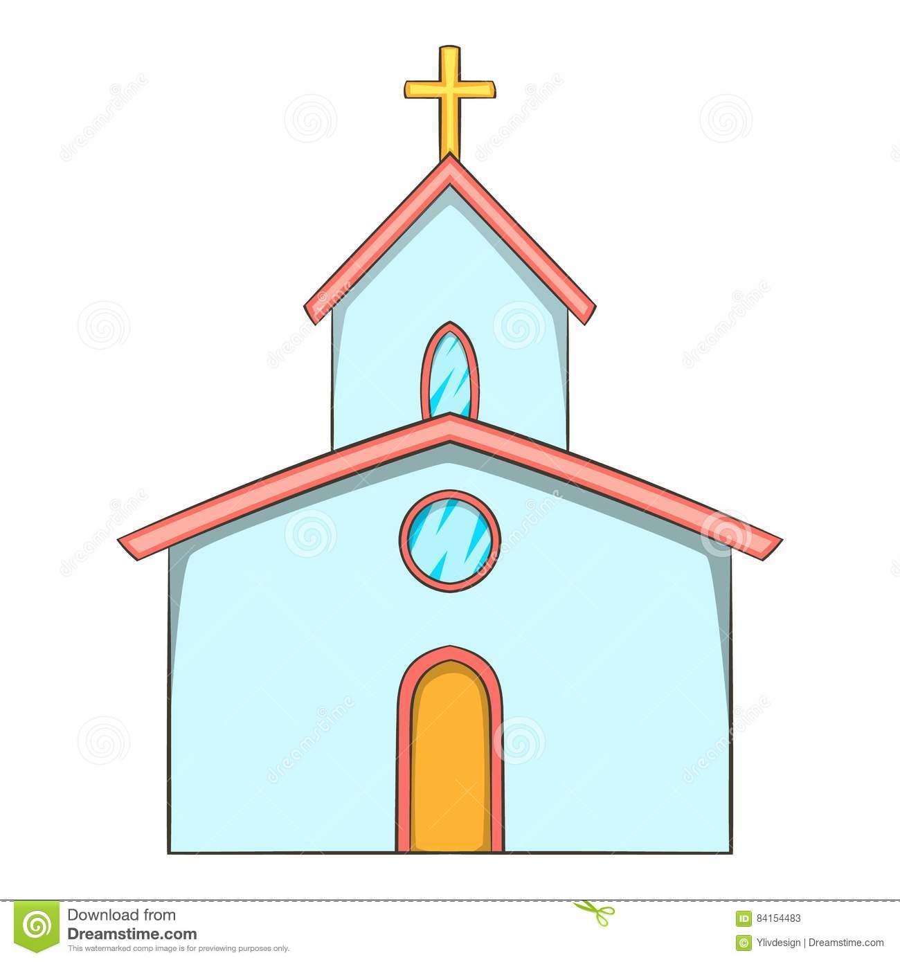 Ícone Da Igreja, Estilo Dos Desenhos Animados Ilustração Do Vetor