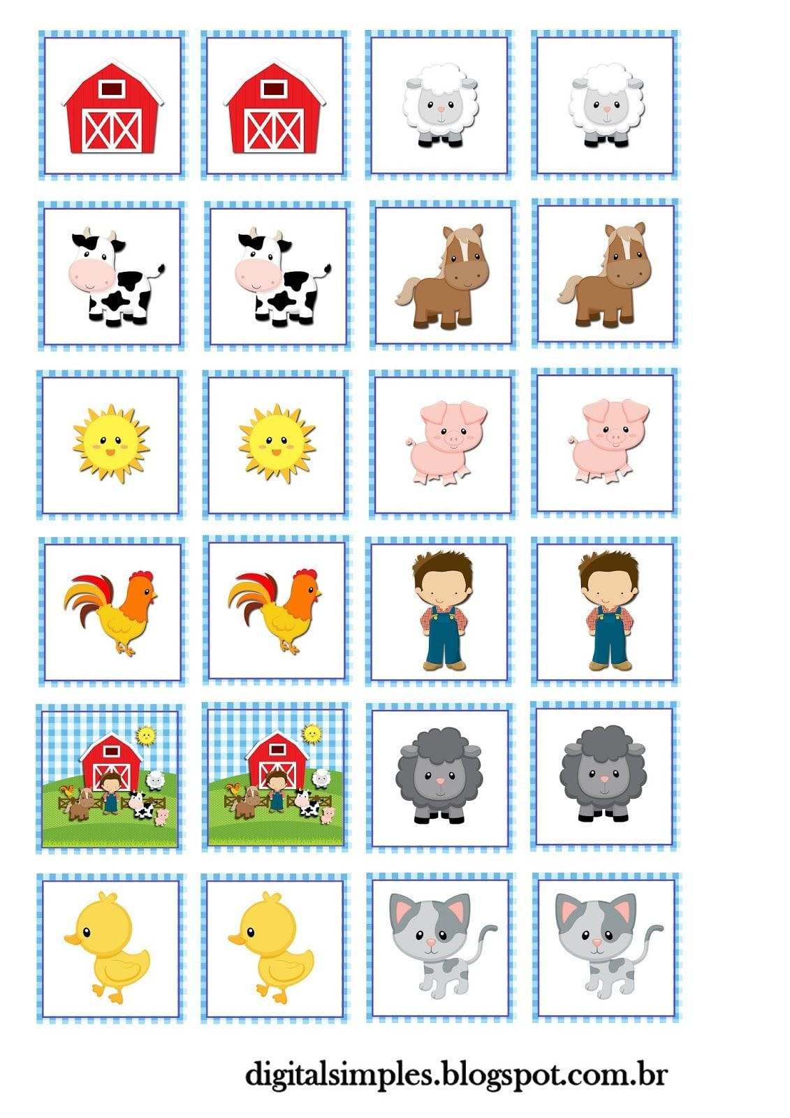 Kit Personalizados Tema  Fazendinha Menino  Para Imprimir