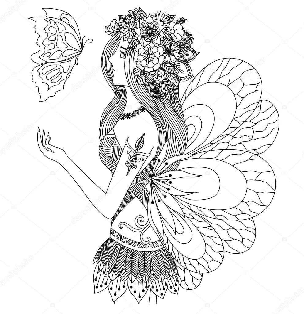 Menina Bonita Fada Olhando Para Voar Desenho De Borboleta Para